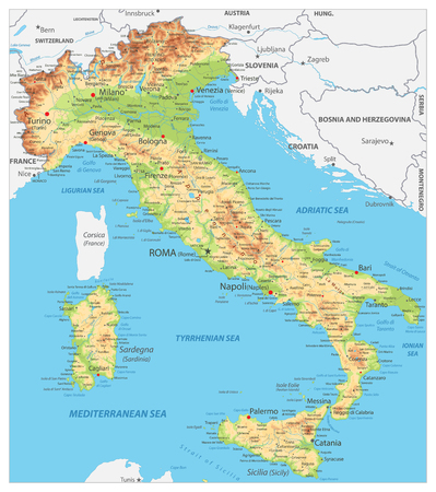 Italy Detailed Physical Map - Image contains layers with shaded contours, land names, city names, water objects and its names - Highly detailed vector illustration.