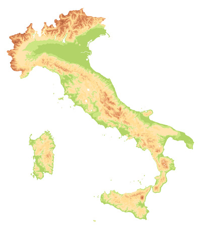 Italy Physical Map Cut On White - No text - Image contains layers with shaded contours, water objects - Highly detailed vector illustration.