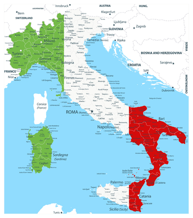 Italy vector map coloured by national flag - Image contains layers with Italy map, land names, city names - Highly Detailed Vector Illustration of Italy Map.