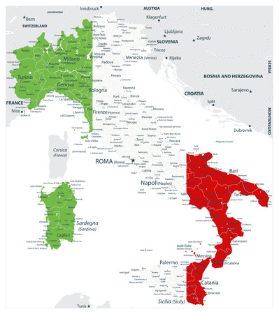 Abstract vector color map of Italy country coloured by national flag - Image contains layers with Italy map, land names, city names - Highly Detailed Vector Illustration of Italy Map.