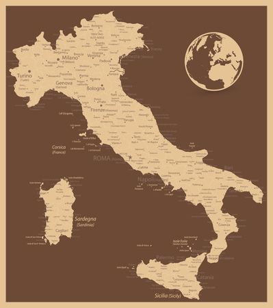 Italy Antique Map - Image contains layers with land names, city names - Highly detailed vector illustration. Ilustração
