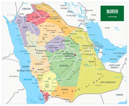 Saudi-Arabien Karte Administrative Divisionen und Straßen - Das Bild enthält Ebenen mit Kartenkonturen, Landnamen, Städtenamen, Wasserobjekten und deren Namen, Autobahnen - Sehr detaillierte Vektorillustration. Vektorgrafik