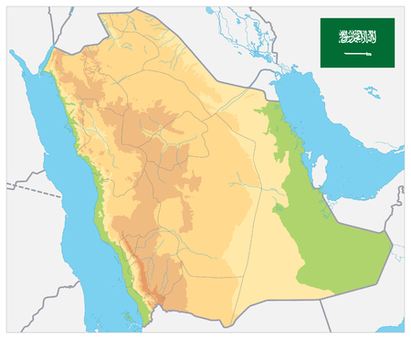 Saudi Arabia Physical Map - No text - Image contains layers with shaded contours and water objects - Highly detailed vector illustration. Vectores