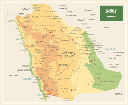 Saudi Arabia Physical Map Retro Color - Image contains layers with shaded contours, land names, city names, water objects and it's names - Highly detailed vector illustration.