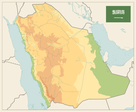 Saudi Arabia Physical Map Vinatge Colors - No text - Image contains layers with shaded contours and water objects - Highly detailed vector illustration.