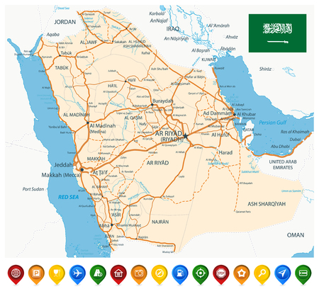 Saudi Arabia Road Map and Colored Map Icons - Image contains layers with map contours, land names, city names, water objects and its names, highways - Highly detailed vector illustration.