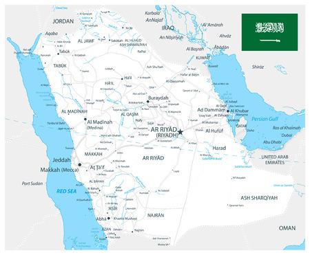 Saudi-Arabien Straßenkarte weiße Farbe - Das Bild enthält Ebenen mit Kartenkonturen, Landnamen, Städtenamen, Wasserobjekten und deren Namen, Autobahnen - Sehr detaillierte Vektorillustration.