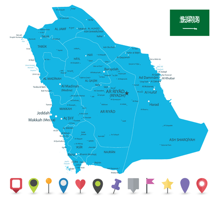 Saudi Arabia Map And Flat Map Icons Image Contains Layers With - Us-flat-map