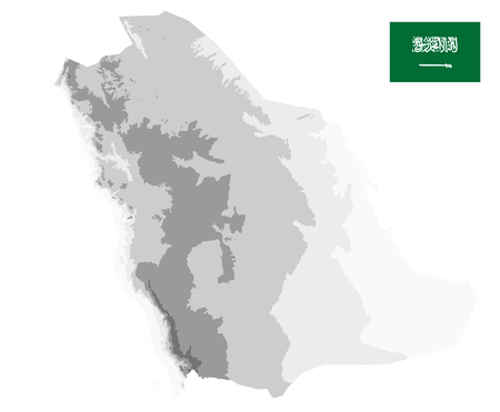 Saudi Arabia Physical Map White and Grey Isolated On White - No text - Image contains layers with shaded contours - Highly detailed vector illustration.
