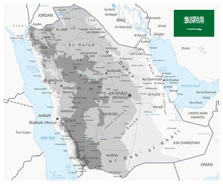 Saudi-Arabien Physische Karte Weiß und Grau - Das Bild enthält Ebenen mit schattierten Konturen, Landnamen, Städtenamen, Wasserobjekten und ihren Namen - Sehr detaillierte Vektorillustration.