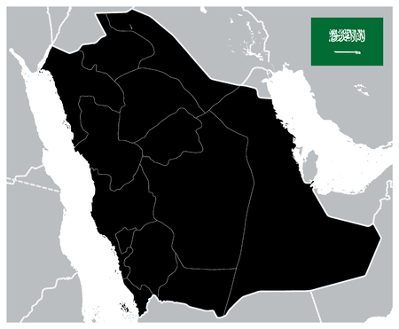 Black Color Saudi Arabia Map - Blank map - Image contains layers with administrative divisions map - Highly Detailed Vector Illustration of Saudi Arabia Map.