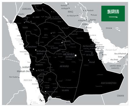 Saudi-Arabien-Karte in schwarzer Farbe - Bild enthält Ebenen mit Karte der Verwaltungseinheiten, Landnamen, Städtenamen - hochdetaillierte Vektorillustration der Saudi-Arabien-Karte.