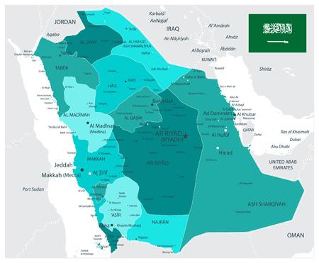 Saudi-Arabien Karte Administrative Divisionen Teal Colors - Das Bild enthält Ebenen mit Kartenkonturen, Landnamen, Städtenamen - Sehr detaillierte Vektorillustration.