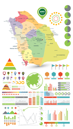 Saudi Arabia map and Infographics design elements. On white - Business template in flat style for presentation, booklet, website and other creative projects.