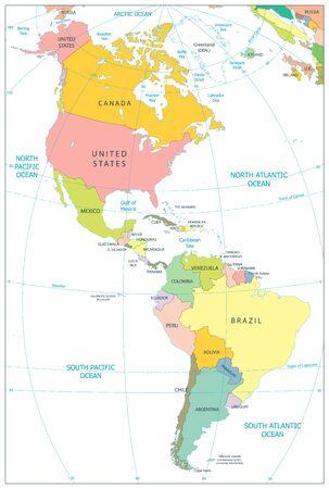 Carte Politique De L'Amérique Du Nord Et Du Sud Isolée Sur Blanc. Illustration vectorielle.