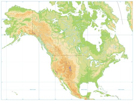 North America Physical Map Isolated on White. No text. Vector illustration.