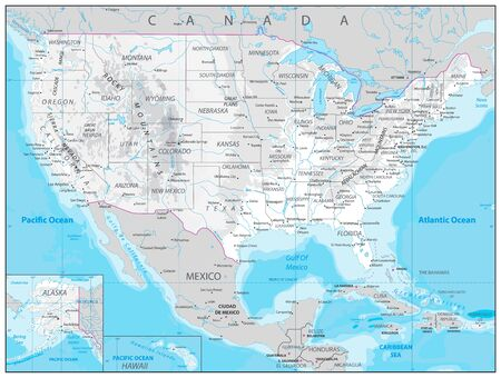 USA detailed physical map with water objects, cities and capitals.