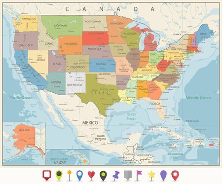Vintage Color Political Map of USA and Flat Map Pointers with water objects, cities and capitals.  イラスト・ベクター素材