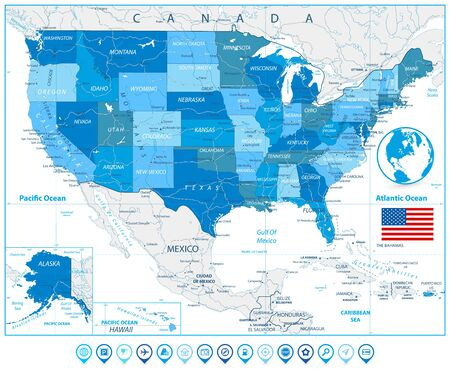 USA Road Map in colors of blue and map pointers with roads, water objects and cities.
