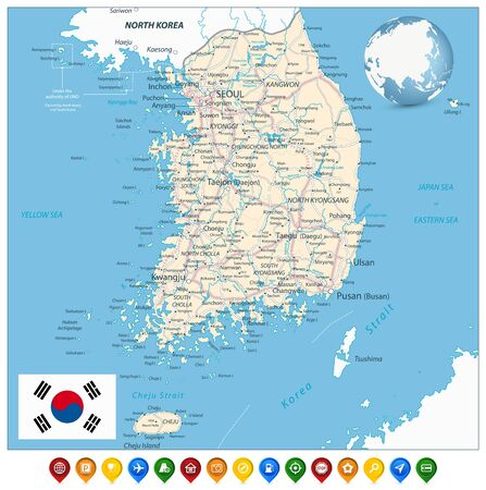 South Korea Road Map and Colorful Map Markers. Vector illustration. Illustration