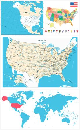 USA maps collection large navigation set and World map