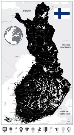 Finland Black Map and Flat Map Icons. Highly detailed vector illustration of map.  イラスト・ベクター素材