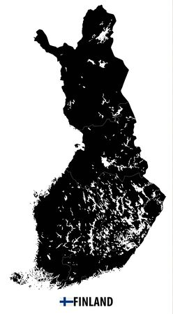 Finland Black Map isolated on white. No text. Highly detailed vector illustration of map.
