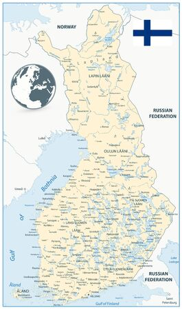 Finland Map and globe with flag. Highly detailed vector illustration of map. Ilustração