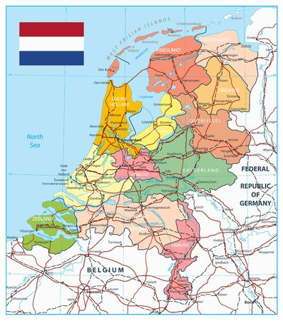 Netherlands Administrative Divisions Map and Roads. Highly detailed vector illustration of map.