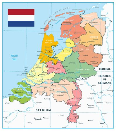 Netherlands Administrative Divisions Map. Highly detailed vector illustration of map. Vettoriali