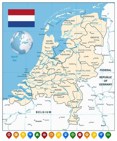 Netherlands Map and Colorful Map Markers. Highly detailed vector illustration of map.