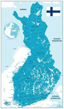 Detailed Finland Map. Highly detailed vector illustration of map. Ilustração