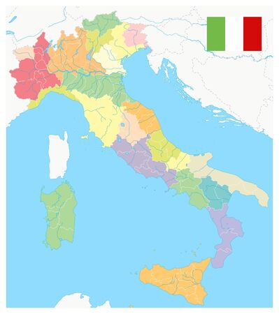 Italy Administrative Divisions Map - No text - Highly Detailed Vector Illustration of Italy Map - Image contains layers with administrative divisions map, water objects.