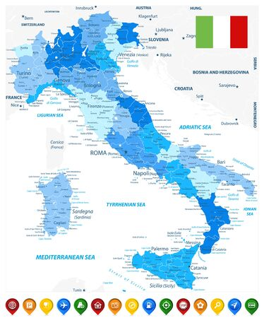Italy Administrative Divisions Map Blue Colors and Colored Map Icons - Highly Detailed Vector Illustration of Italy Map - Image contains layers with administrative divisions map, land names, city names and map icons.