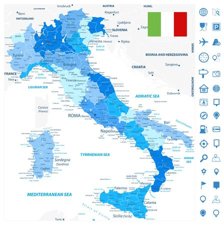 Italy Administrative Divisions Map Blue Colors and Navigation Map Icons - Highly Detailed Vector Illustration of Italy Map - Image contains layers with administrative divisions map, land names, city names and navigation map icons.