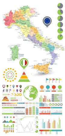 Italy map and Infographics design elements. On white. Business template in flat style for presentation, booklet, website and other creative projects.