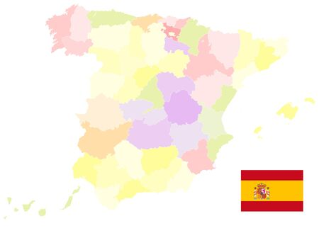 Administrative Map of Spain On White. No text. All elements are separated in editable layers clearly labeled. Vector illustration. Illustration