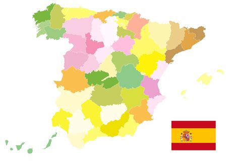 Administrative Political Map of Spain Isolated On White. No text. All elements are separated in editable layers clearly labeled. Vector illustration.