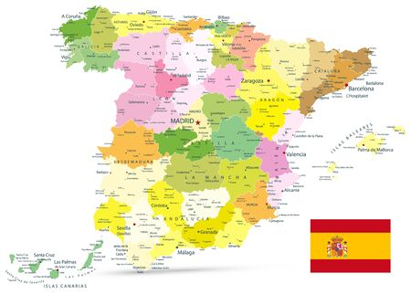Administrative Political Map of Spain Isolated On White. All elements are separated in editable layers clearly labeled. Vector illustration.