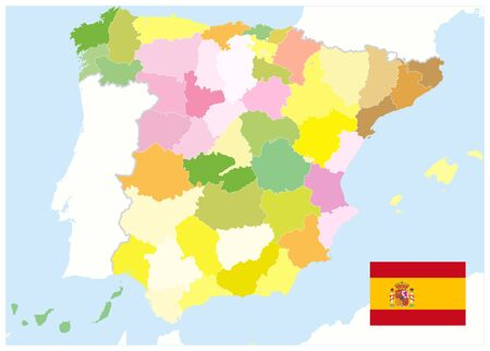 Administrative Political Map of Spain. No text. All elements are separated in editable layers clearly labeled. Vector illustration. Illustration
