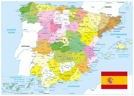 Administrative Political Map of Spain. All elements are separated in editable layers clearly labeled. Vector illustration.