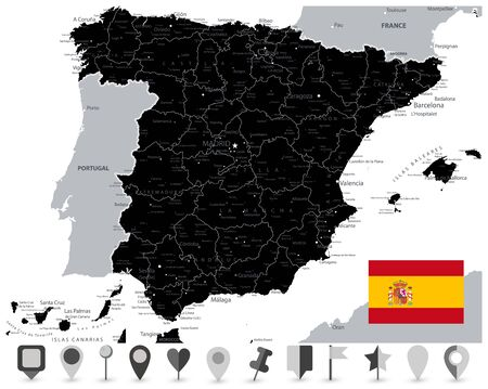 Black Map of Spain and Flat Map Icons. All elements are separated in editable layers clearly labeled. Vector illustration. Illustration