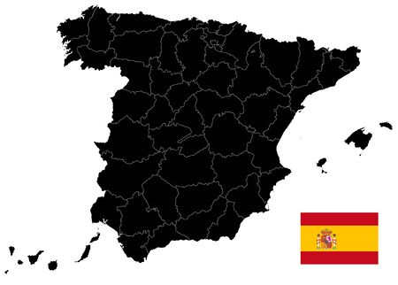 Black Map of Spain Isolated On White. Empty Map. All elements are separated in editable layers clearly labeled. Vector illustration. Illustration