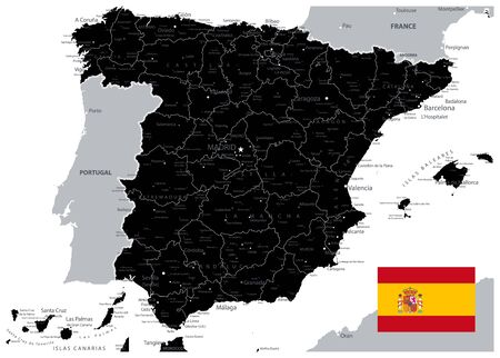 Black Map of Spain. All elements are separated in editable layers clearly labeled. Vector illustration.