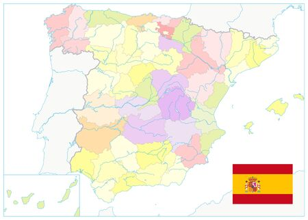 Detailed Political Map of Spain Isolated on White. No text. All elements are separated in editable layers clearly labeled. Vector illustration.