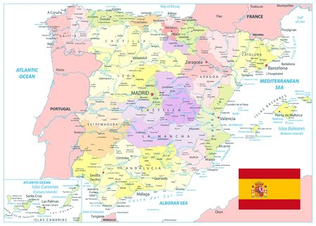 Detailed Political Map of Spain Isolated on White. All elements are separated in editable layers clearly labeled. Vector illustration. 일러스트