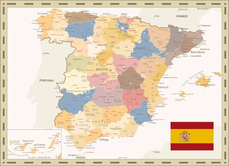 Detailed Political Map of Spain Retro Color. All elements are separated in editable layers clearly labeled. Vector illustration.