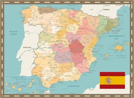 Detailed Political Map of Spain Vintage Color. All elements are separated in editable layers clearly labeled. Vector illustration.