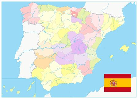 Detailed Political Map of Spain. No text. All elements are separated in editable layers clearly labeled. Vector illustration.