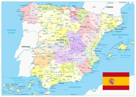 Detailed Political Map of Spain. All elements are separated in editable layers clearly labeled. Vector illustration.